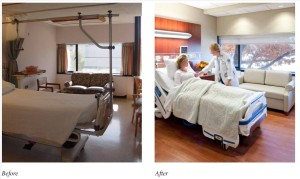 Renovate semi-private to private med surg unit (26 beds) - before and after