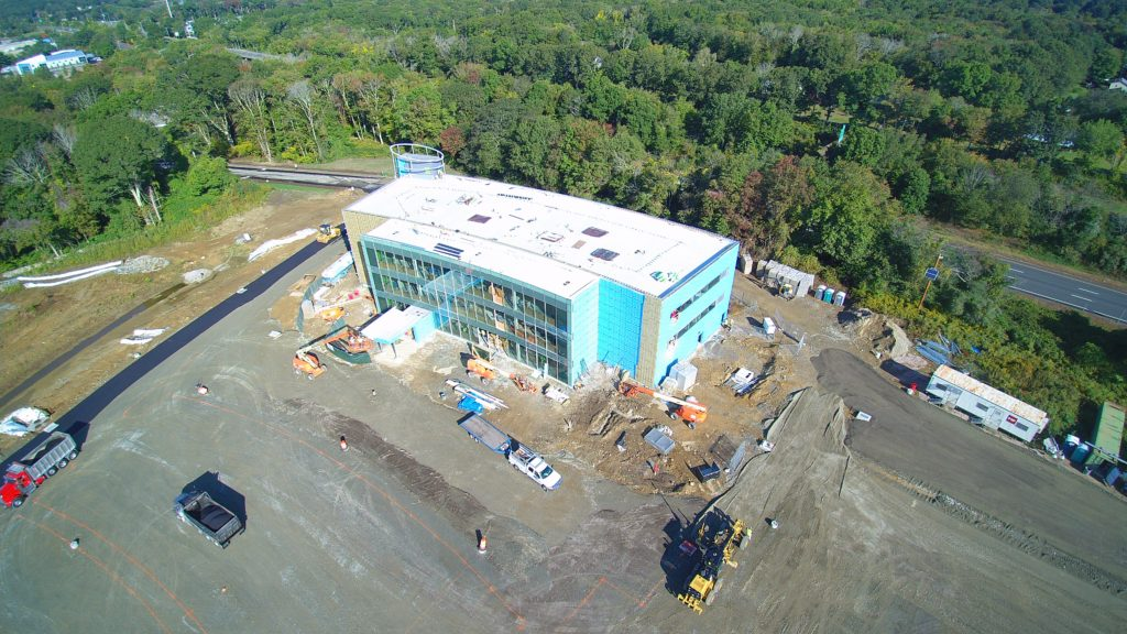 Aerial view of HealthCenter in Mystic under construction