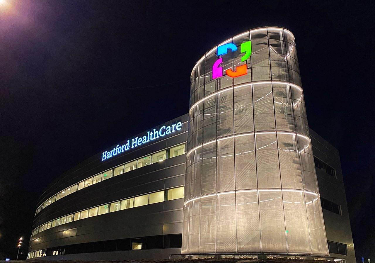 Night view of Hartford Healthcare HealthCenter in Mystic, CT